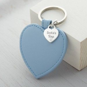 dc5b0316329 Personalised Silver Charm Leather Heart Keyring 3rd Anniversary: Leather