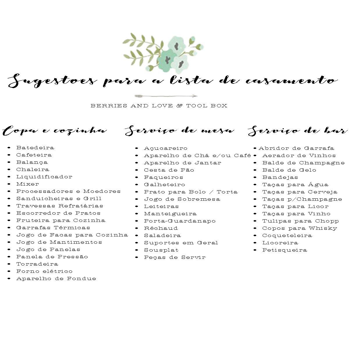 Dicas para montar a lista de casamento - Berries and Love