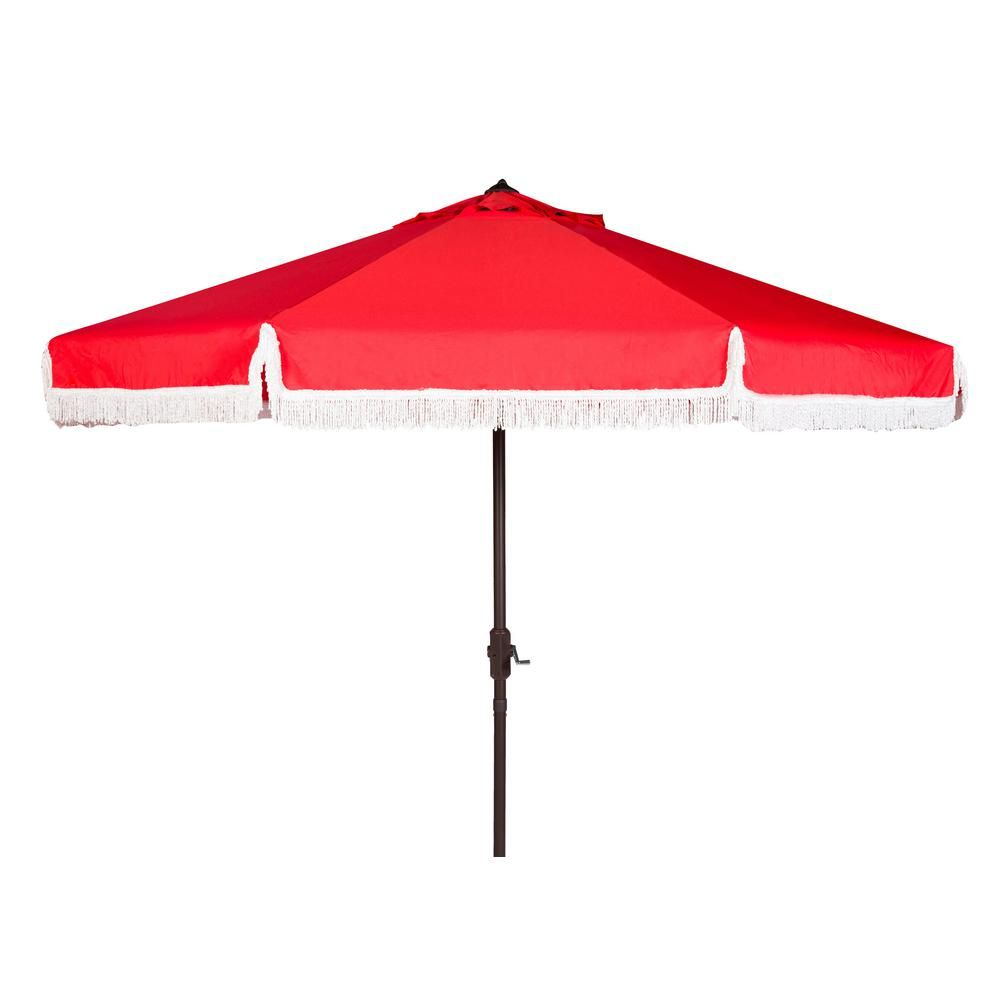 Safavieh Milan 9 ft. Aluminum Market Tilt Patio Umbrella in Navy/White PAT8008A - The Home Depot