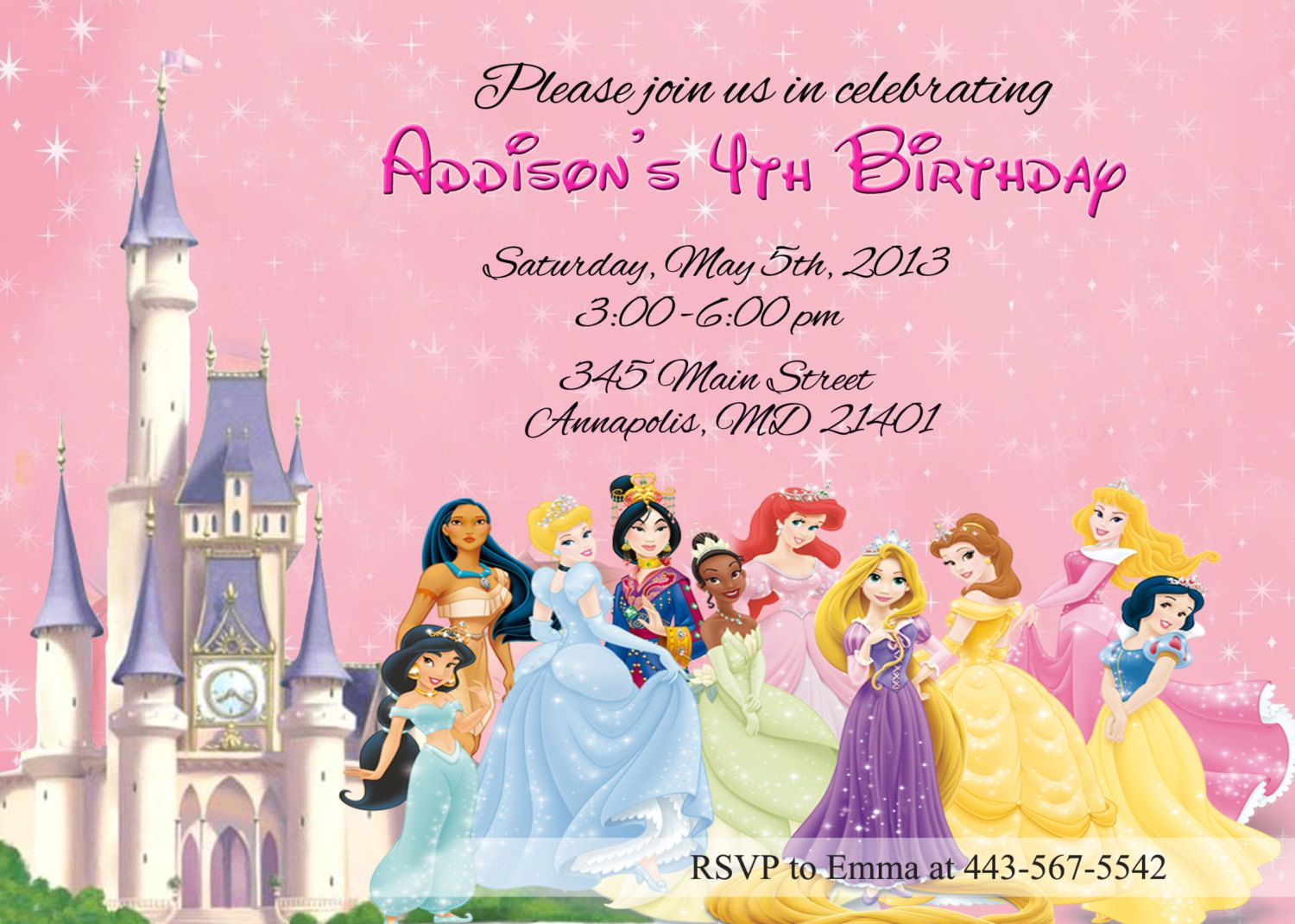 disney princess birthday party invitation | jordyn | pinterest, Birthday invitations