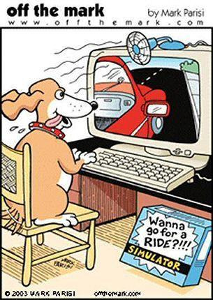 Funny Dog Cartoon Computer Simulator With Images Cartoon Dog