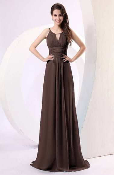 Chocolate Brown Evening Dress Plus Size Gown Petite Bridesmaid ...