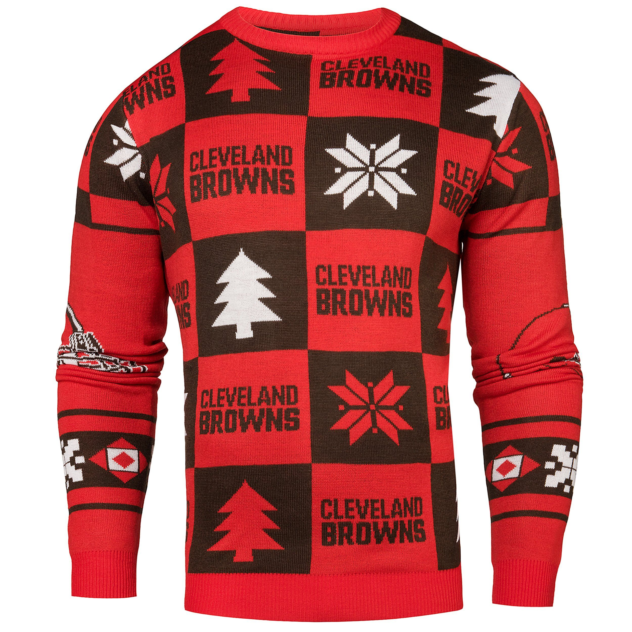 Cleveland Browns Christmas Sweater.Cleveland Browns Nfl Fc Burnt Orange Brown Knit Patches