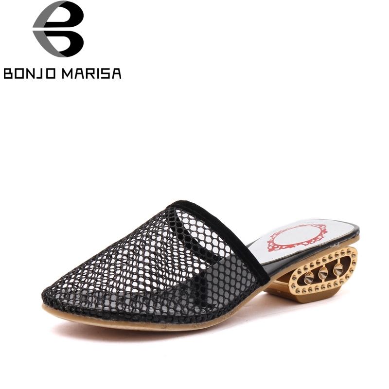 13.78$  Buy here - http://alieqc.shopchina.info/go.php?t=32807370299 - BONJOMARISA Air Mesh 2017 Summer Hollow Fretwork Fashion Mules Med Strange Heel With Rhinestone Women Shoes Size 35-39 13.78$ #magazineonlinebeautiful