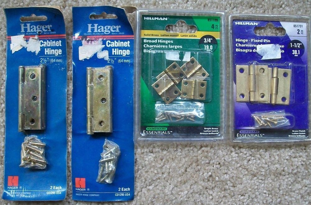 Hager Hillman Cabinet Hinges Lot Fixed Pin Brass Finish 1 1