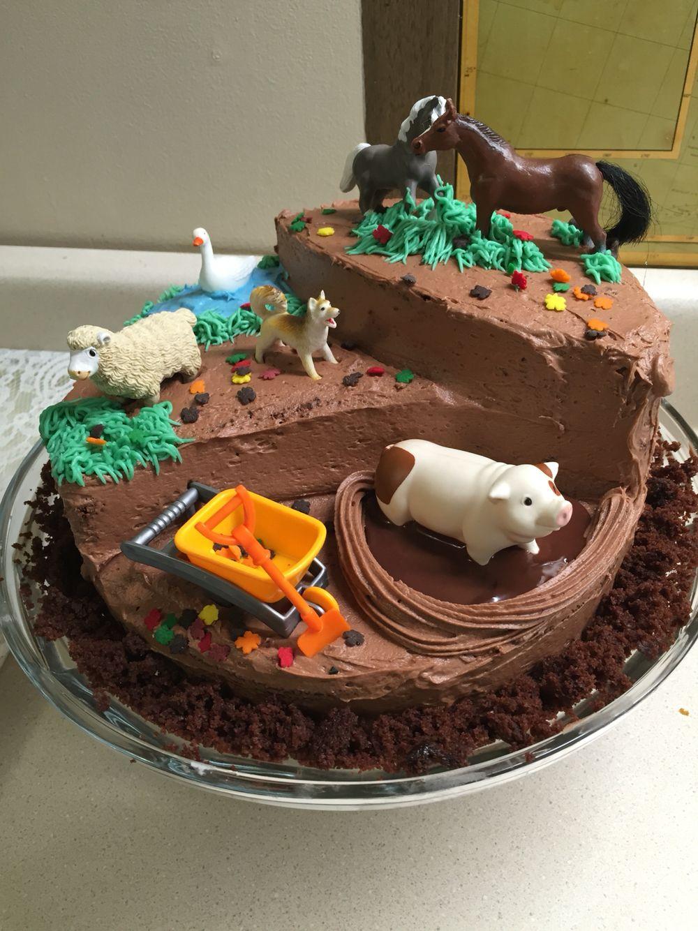 Farm Animal Birthday Cake Pinteres
