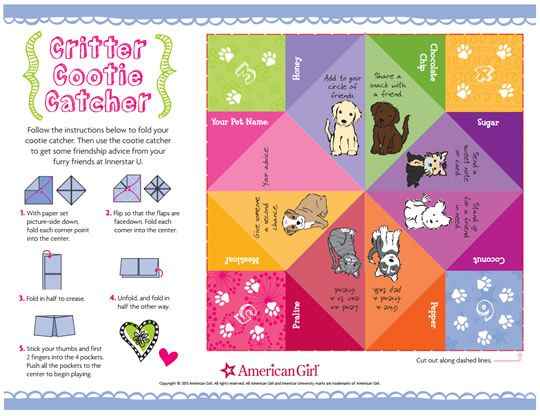 RealCoakePowerPin from @DollDiaries Printable American Girl Cootie - cootie catcher template