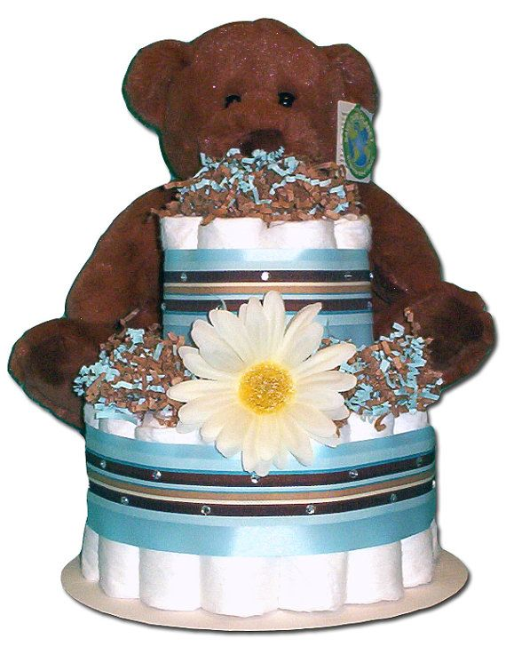 2 Tier Teddy Bear Diaper Cake by WholelotofCute on Etsy, $45.00