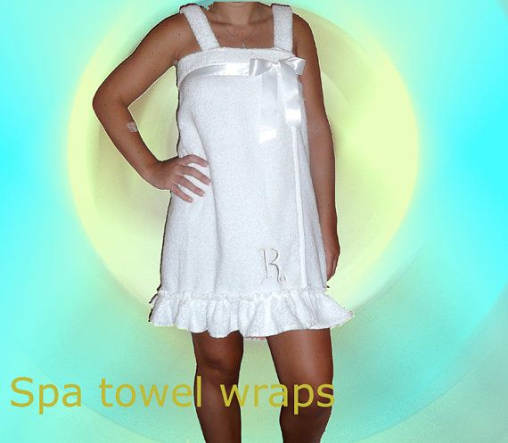 Spa towel wrap, ruffled beach wrap, bridal design with a satin trim and bow, can be ordered with or without straps
