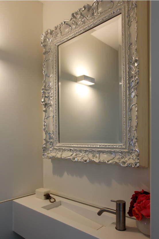 Venetiaanse spiegel hooglans wit gelakt spiegel te for Barok spiegel