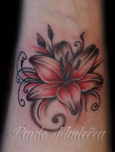 b6890f1378696 Black and Grey and Red Flower Tattoo - 30 Awesome Lily Tattoo Designs <3 !