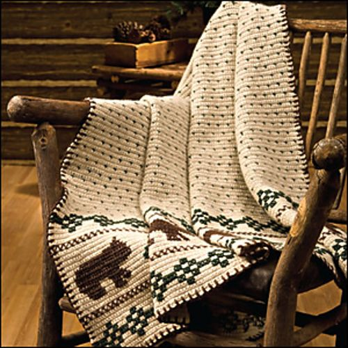 "I like this rustic throw with bears. From Crochet World Magazine October 2010: ""If You Go Into the Woods Today …"" pattern by Debra Arch"