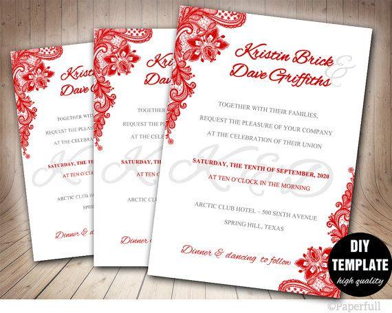 Red Wedding Invitationlace Wedding Invitation Templatered Etsy Wedding Invitations Red Wedding Invitations Creative Wedding Invitations
