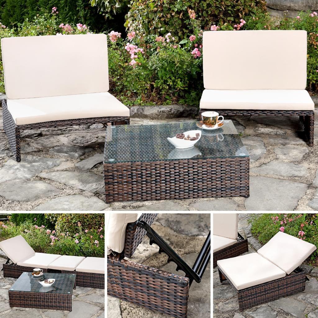 Lounge Gartengarnitur Sitzgruppe 2er Sessel Tisch Real Sitzgruppe Sonnenliege Polyrattan Sessel