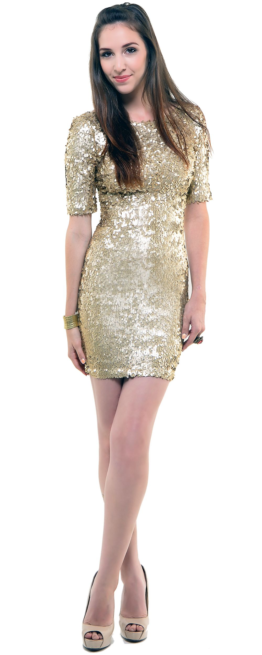 All That Glitters Gold Sequin Short Sleeve Cocktail Dress - Unique ...