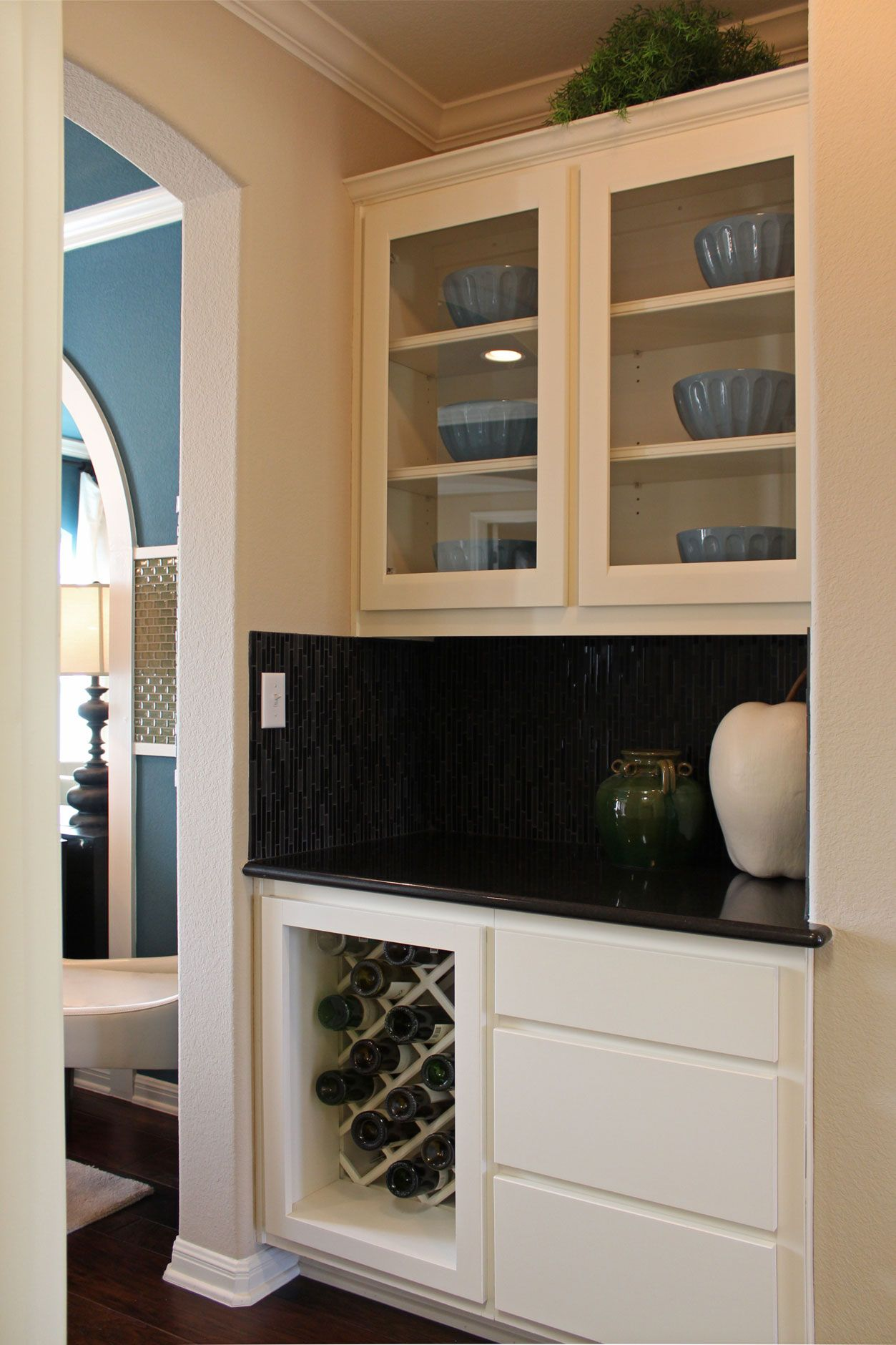 Butler S Pantry With White Cabinets Glass Panel Doors Wine Rack Pantry Cabinet Butler Pantry Kitchen Wine Rack