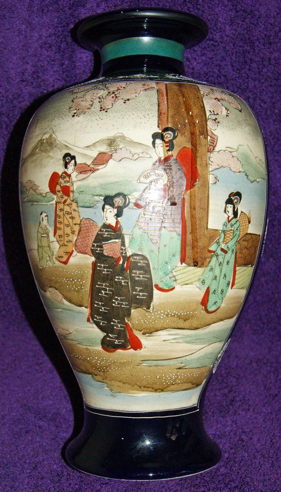 Meiji Period Pair Hand Painted Large Satsuma Kutani Vases All
