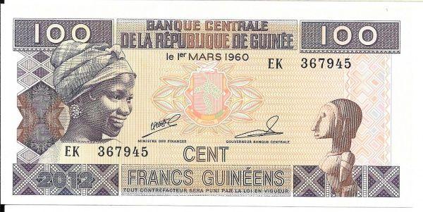 REPUBLICA DA GUINÉ - CÉDULA DE 100 FRANCS ANO 1960 - PEÇA FLOR DE ESTAMPA - PEÇA EM EXCELENTE E