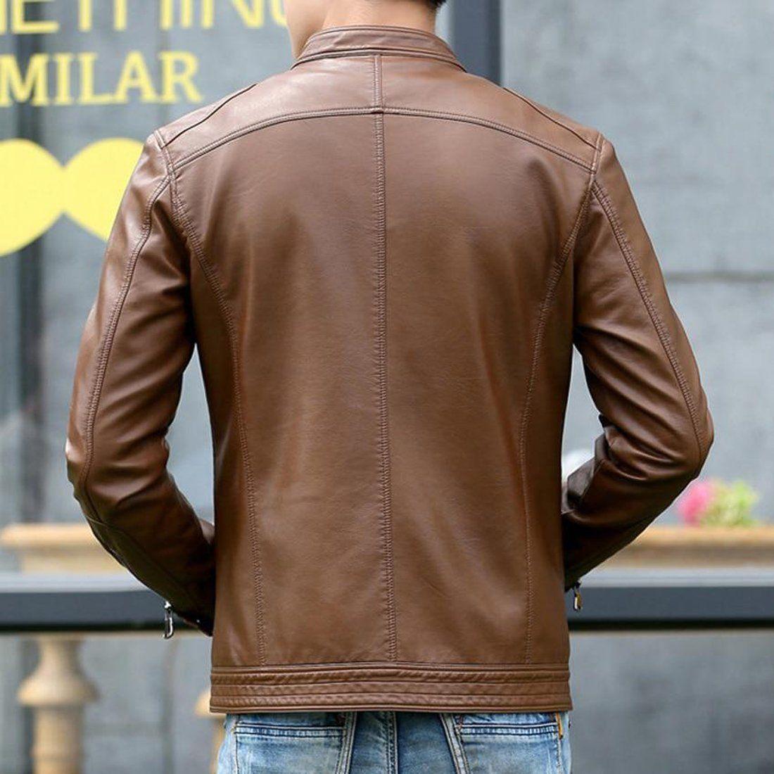 Men S Leather Jacket Stand Collar Casual Slim Motorcycle Men S Leather Jacket Leather Jacket Leather Jacket Men [ 1100 x 1100 Pixel ]