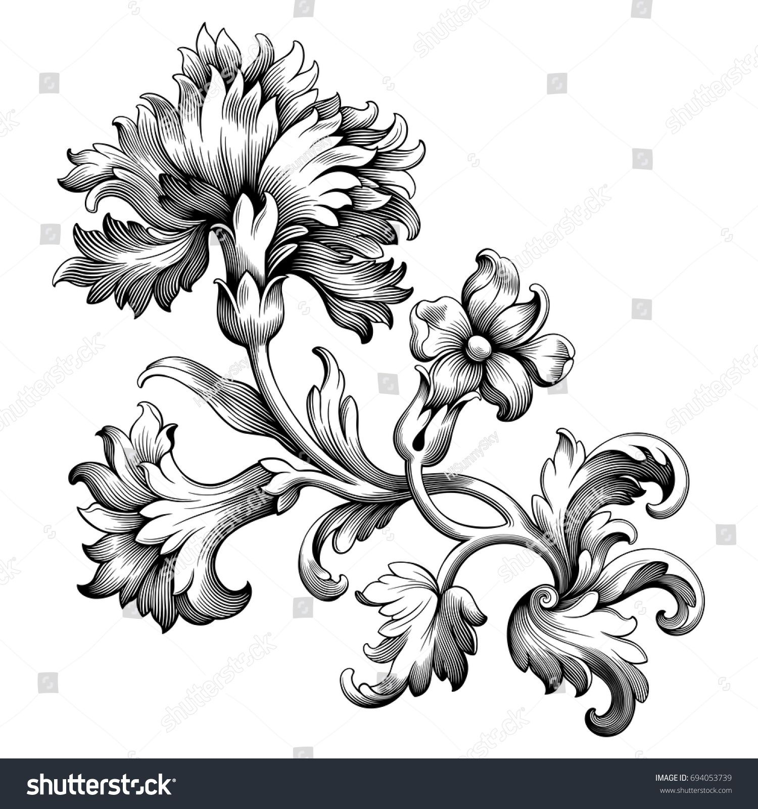 vintage frame tattoo designs. Rose Peony Carnation Flower Vintage Baroque Victorian Frame Border Floral Ornament Leaf Scroll Engraved Retro Pattern Decorative Design Tattoo Black And Designs