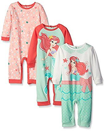 d9ccb2beaa Amazon.com  Disney Baby Girls  3 Pack Coveralls Of Ariel The Little  Mermaid  Clothing