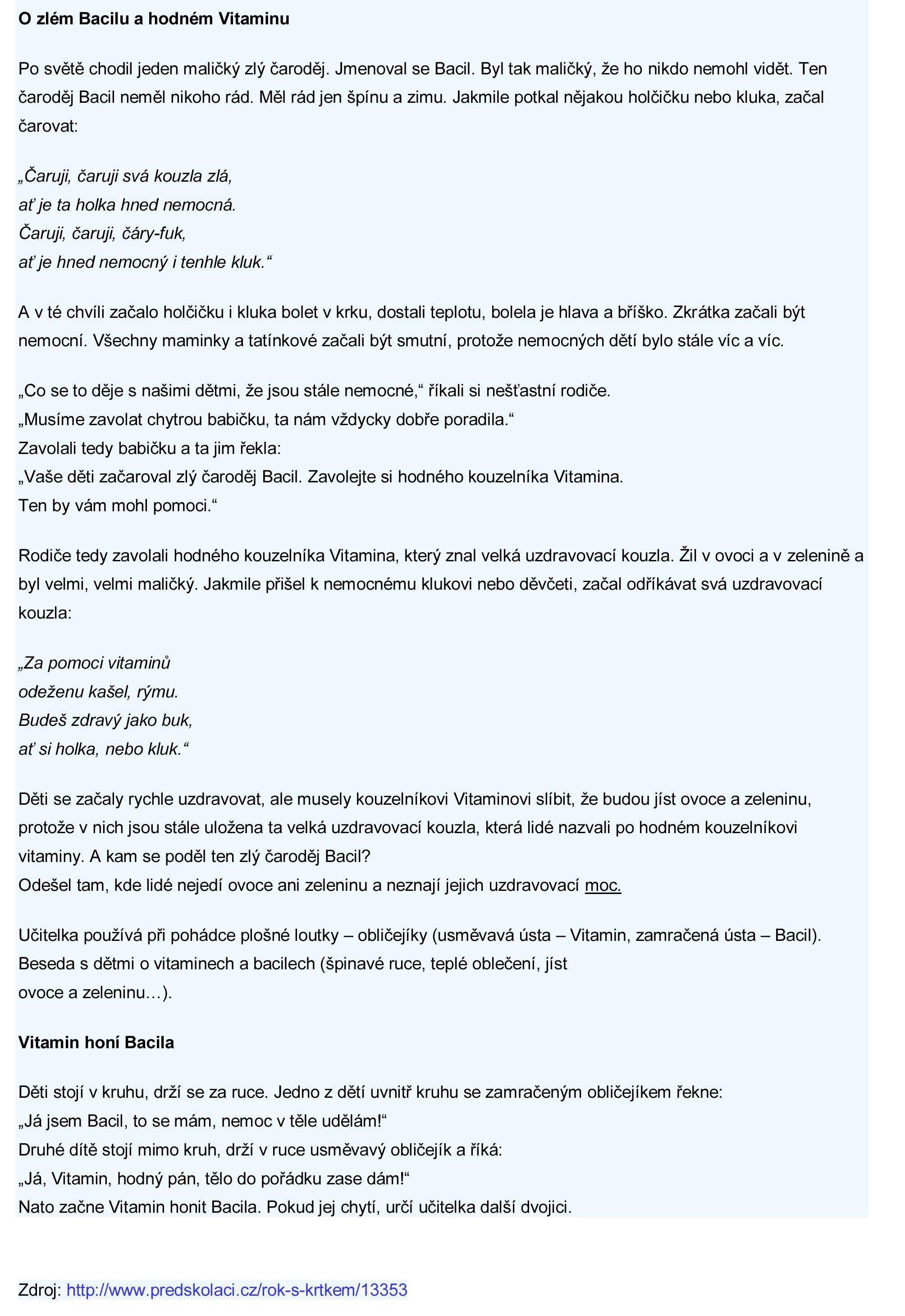 O zlém bacilu a hodném Vitamínu - pohádka | Říkanky, básničky ...