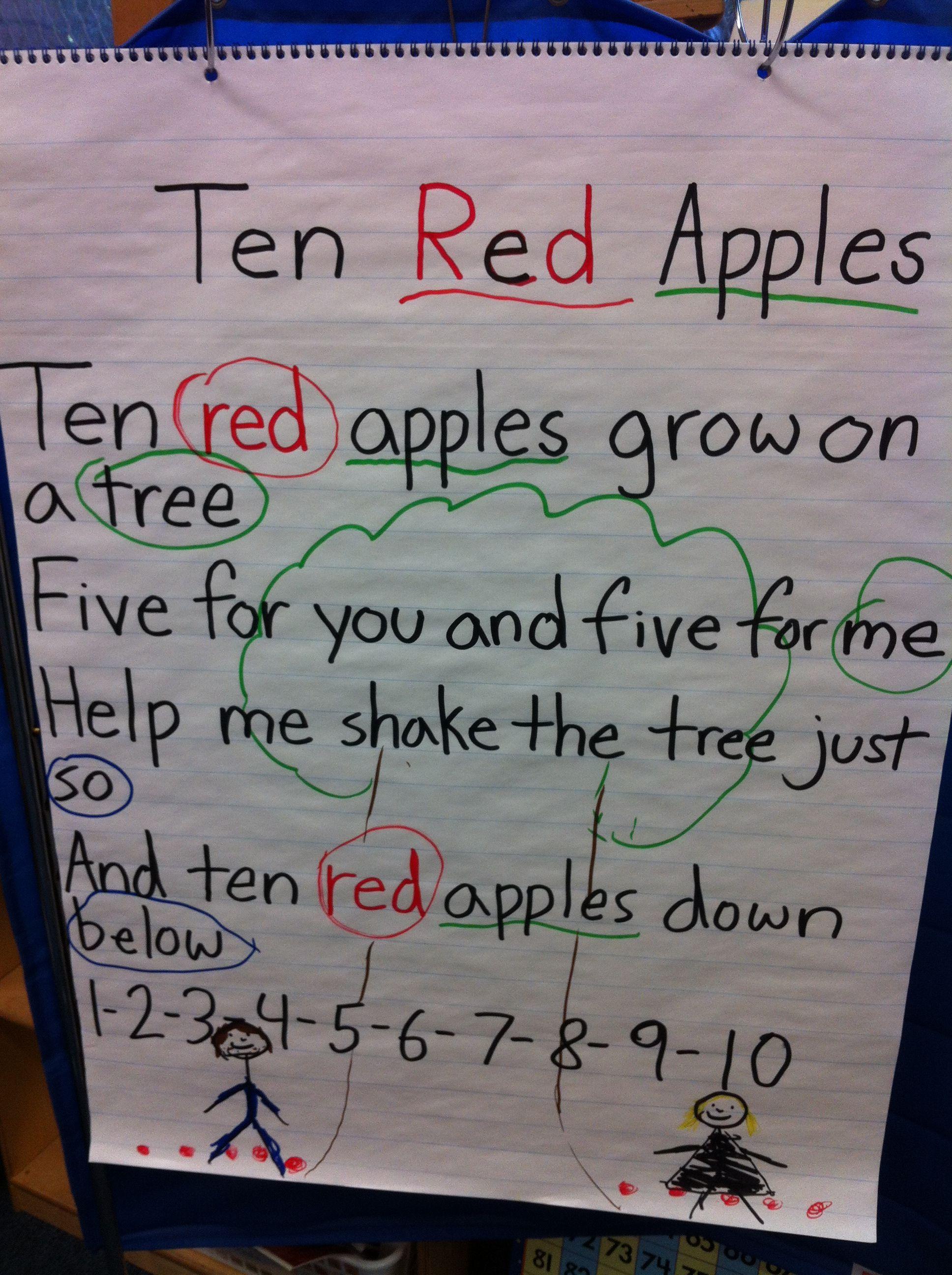 Poetry Choral Reading Circle Rhyming Words Underline