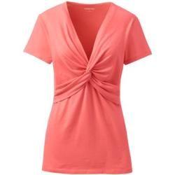 Photo of Hemd mit V-Ausschnitt aus Baumwolle / Modal-Mischung – Orange – 40-42 von Lands & # 39; End Lands & # 39; Ende