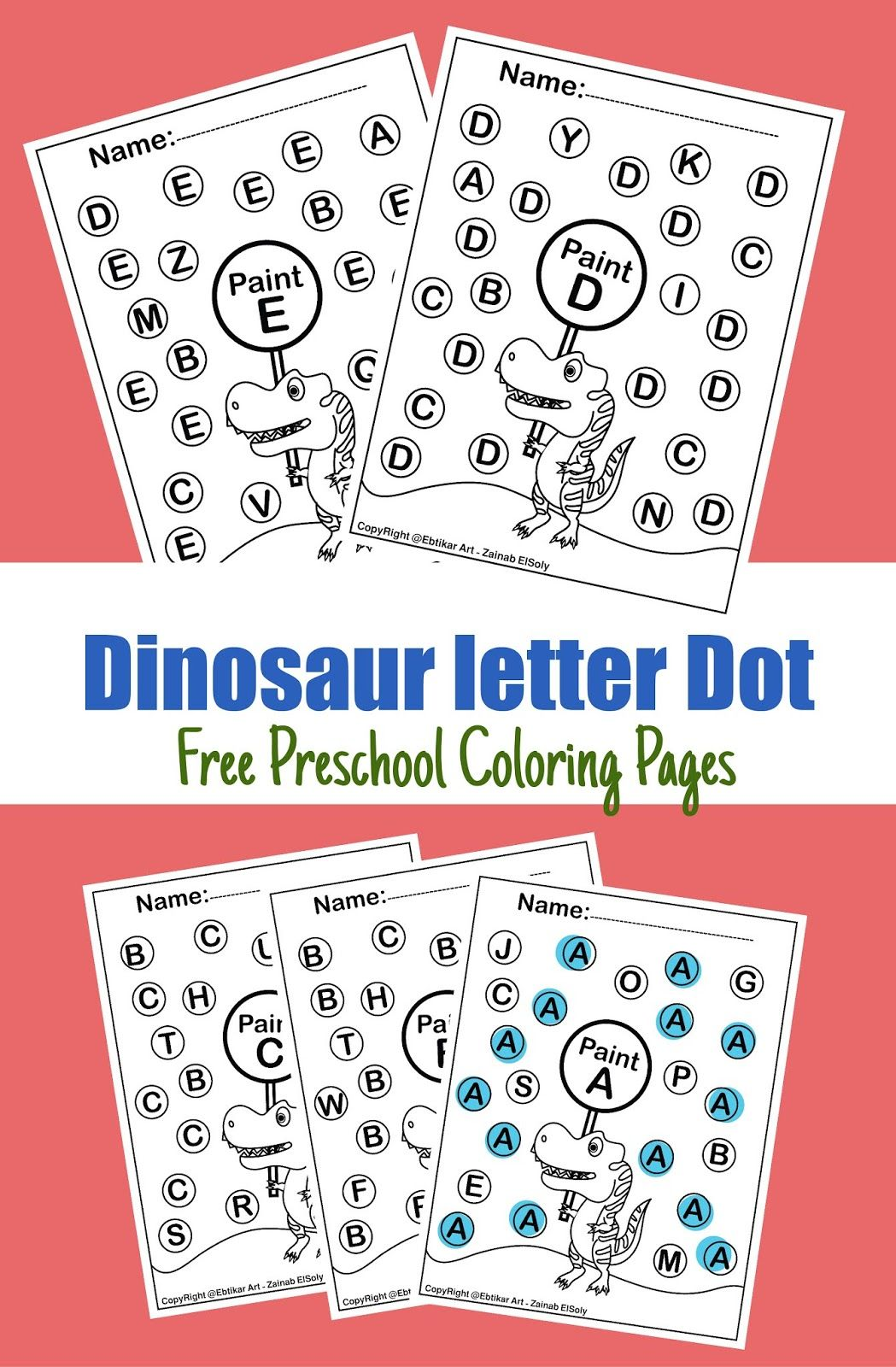 Abc Dinosaur Trex Activity Paint A Dot Preschool Coloring
