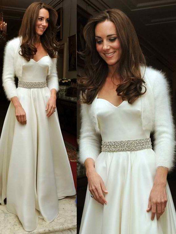 d5d062e8c5e The Kate Shrug - Vintage Look Fluffy Angora Wedding Bridal Bolero Cropped  Cardigan Hand Knit Uk White