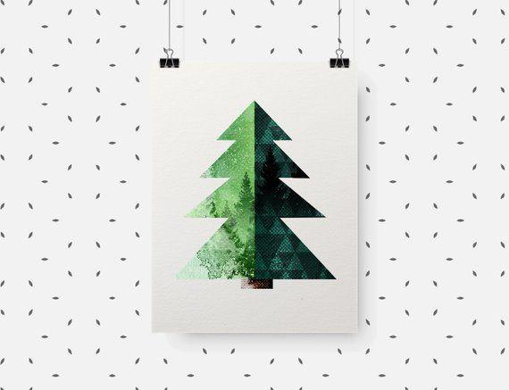 Minimalist Pine Tree: Woodland Nursery Pine Tree Print Scandinavian Forest Wall