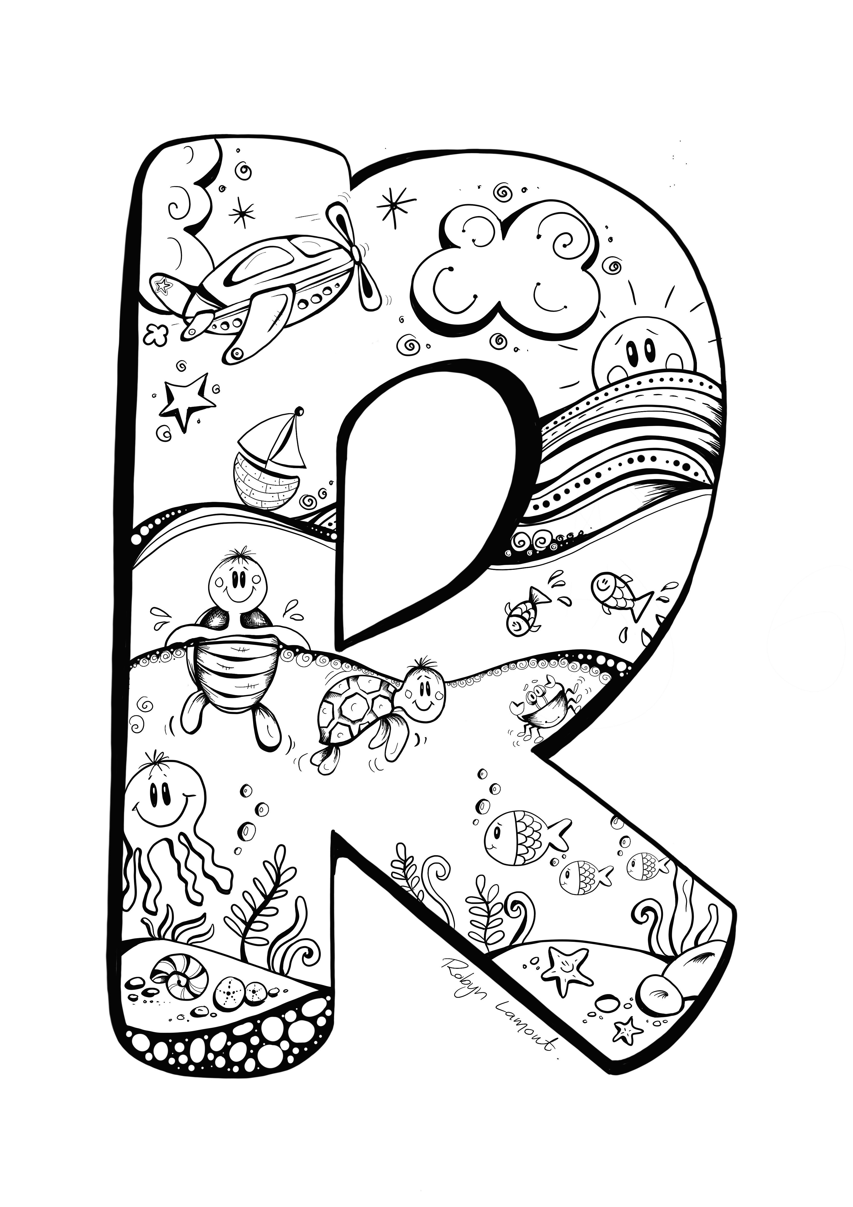 The Letter R Digital Download Robynlamont Doodle Art Designs Abc Coloring Pages Lettering