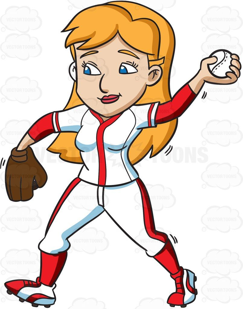 A Female Baseball Player Catching The Ball In The Air | Products ...