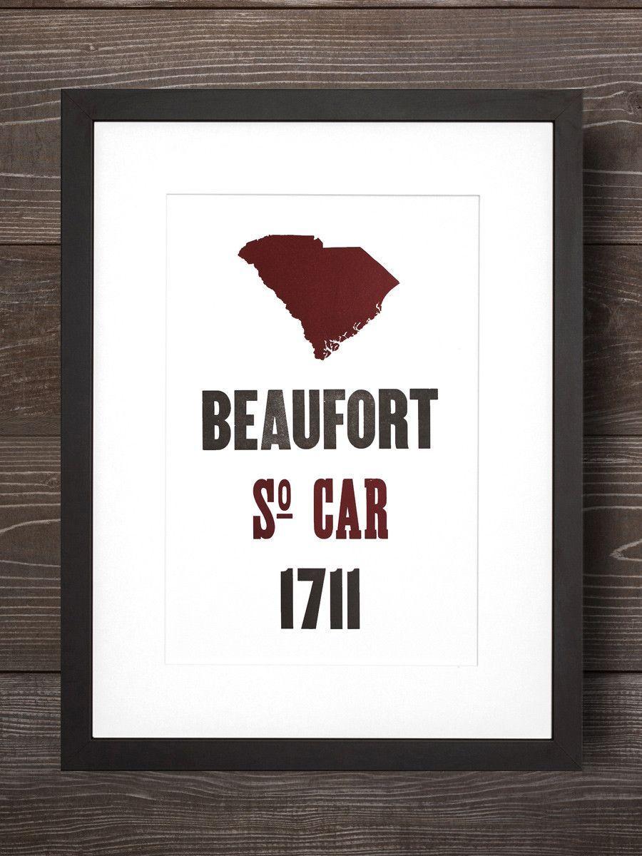 Beaufort Letterpress Print | Beaufort South Carolina Gifts