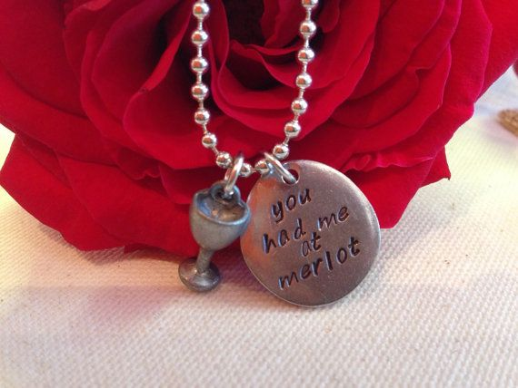 You had me at merlot Handstamped necklace by Fuession on Etsy
