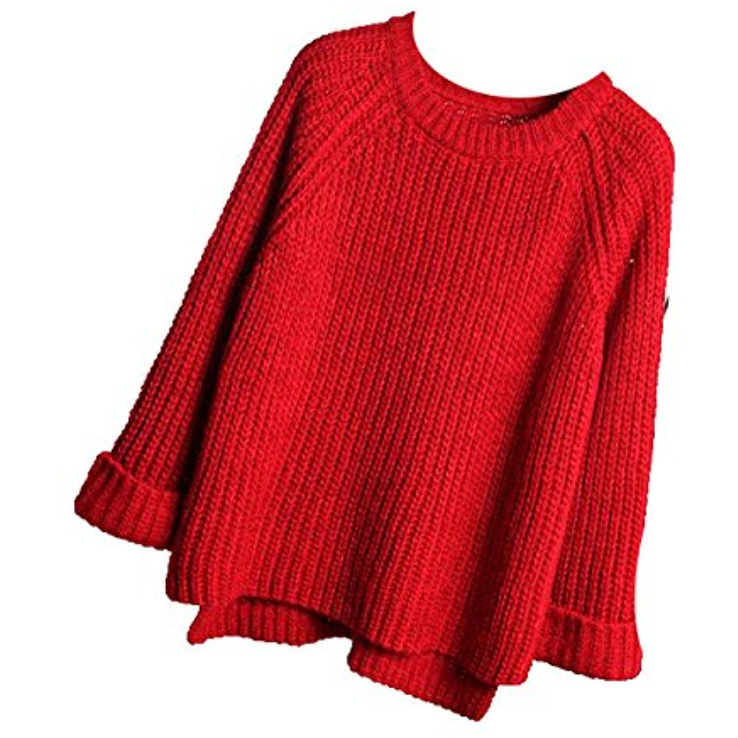 Womens Crewneck Thick Knit Solid Long Sleeve Pullover Sweater ...