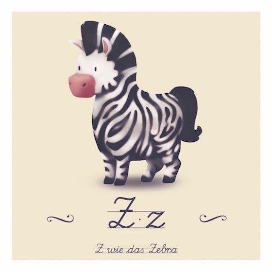 drucke  plakate  tierabc  z wie zebra  ein