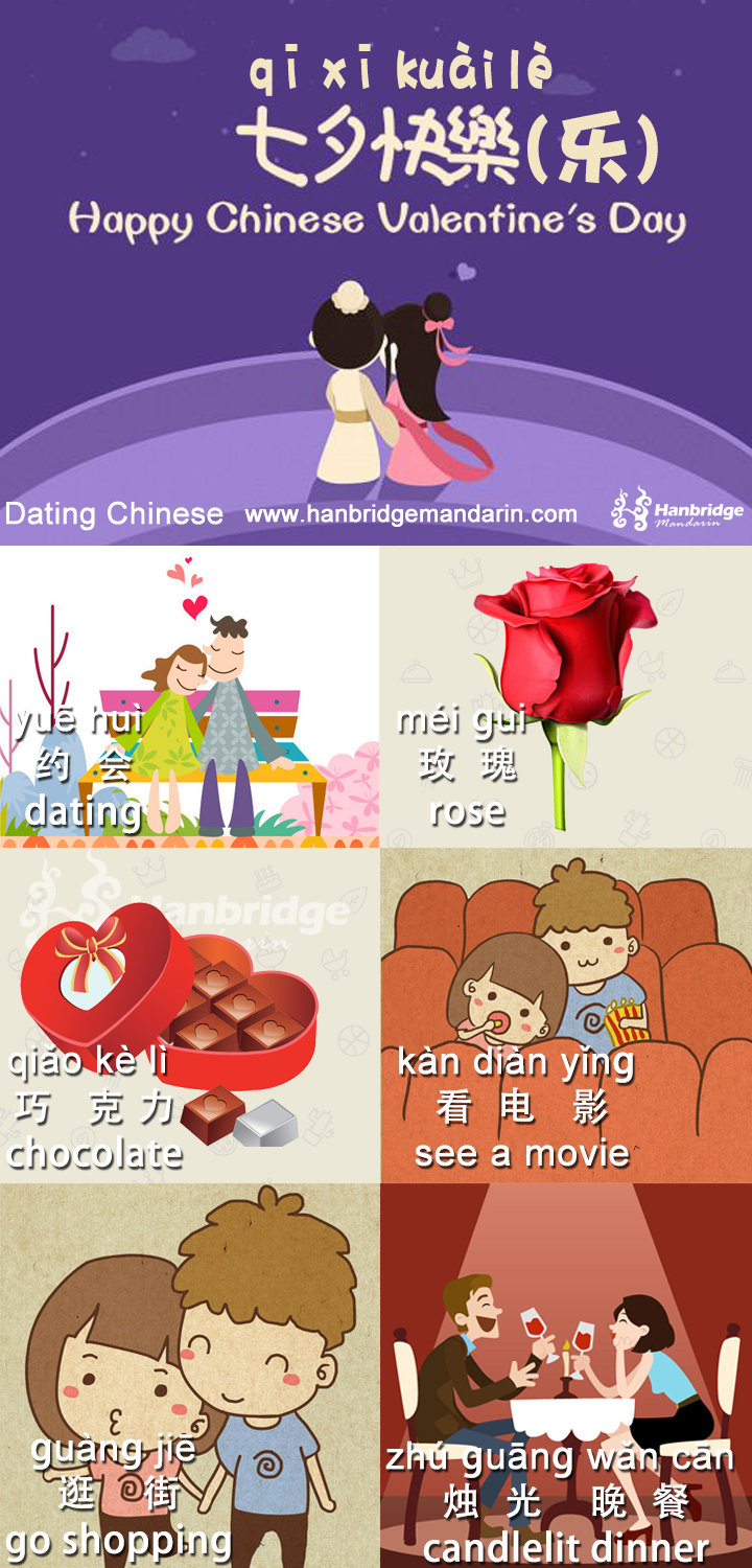 Happy Chinese Valentine's Day! 中國七夕情人節快樂!   Mandarin chinese learning. Chinese lessons. Chinese language learning