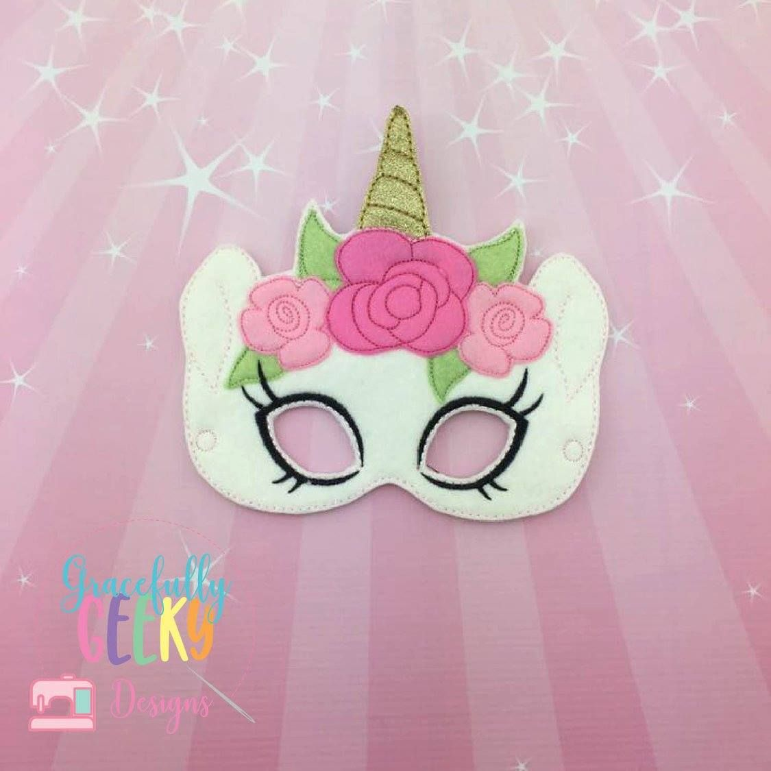 Girly Unicorn Mask Embroidery Design 5x7 Hoop Or Larger