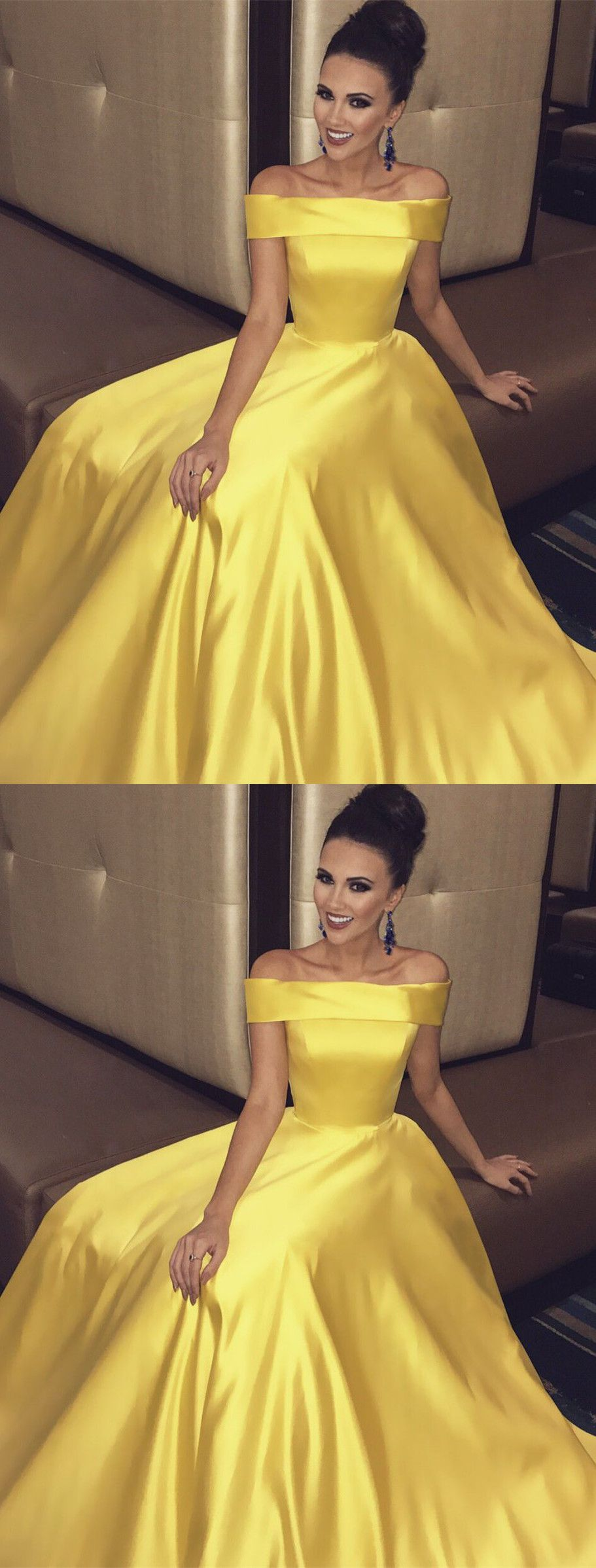 Off the shoulder yellow long prom dress prom dress party