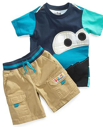 3204b59fd Nannette Baby Set, Baby Boys Sesame Street Cookie Monster 2-Piece T-Shirt  and Shorts - Kids Baby Boy (0-24 months) - Macys