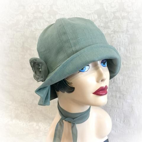8c7babaf257b0 1920's Style Linen Hat with Pleated Brim and Flower | The Polly Cloche