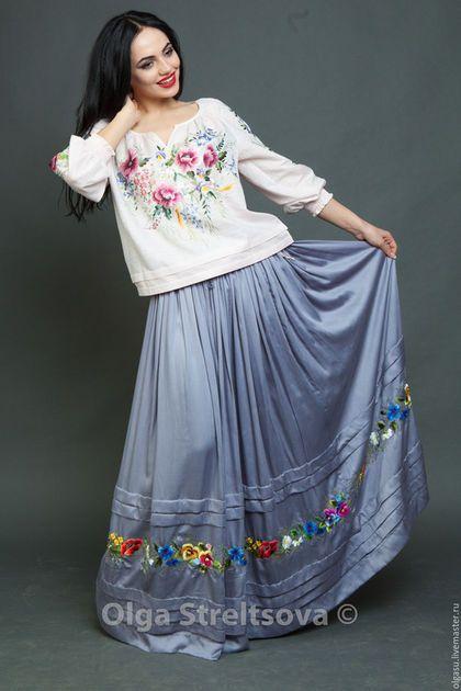 1d937bf9999 Купить или заказать Вышитая серая юбка в пол  Летнее настроение  юбка макси  вышивка гладью