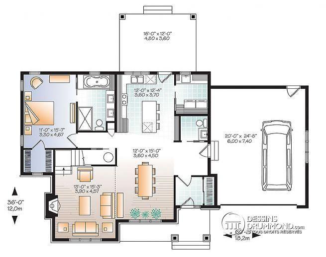Plan de Rez-de-chaussée Maison champêtre rustique, grand espace boni