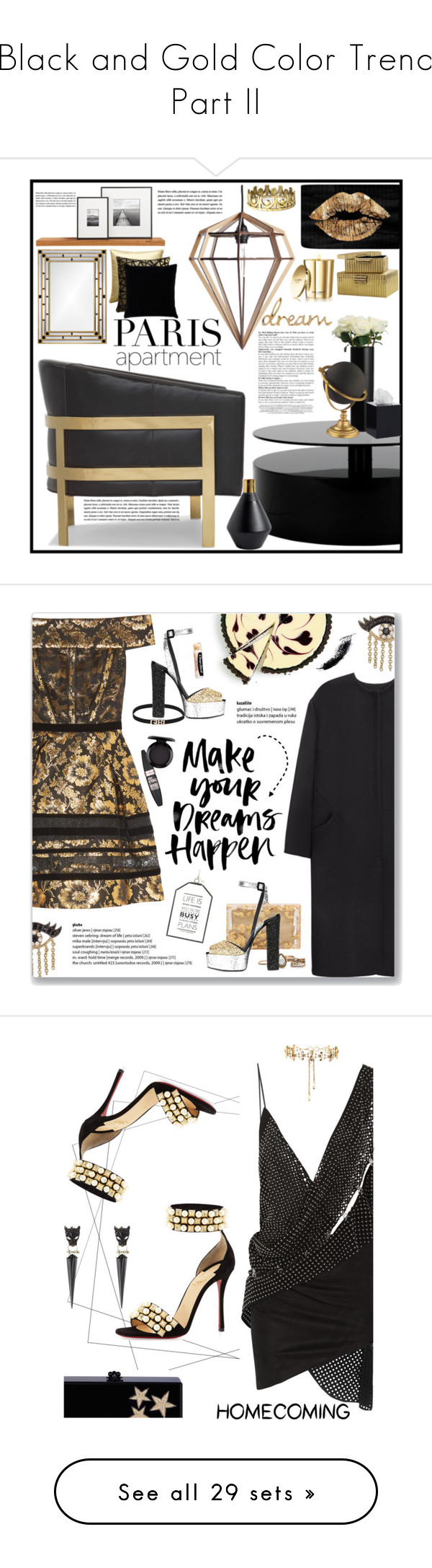 """""""Black and Gold Color Trend Part II"""" by yours-styling-best-friend ❤ liked on Polyvore featuring interior, interiors, interior design, home, home decor, interior decorating, Mitchell Gold + Bob Williams, WALL, John Lewis and Oliver Gal Artist Co."""