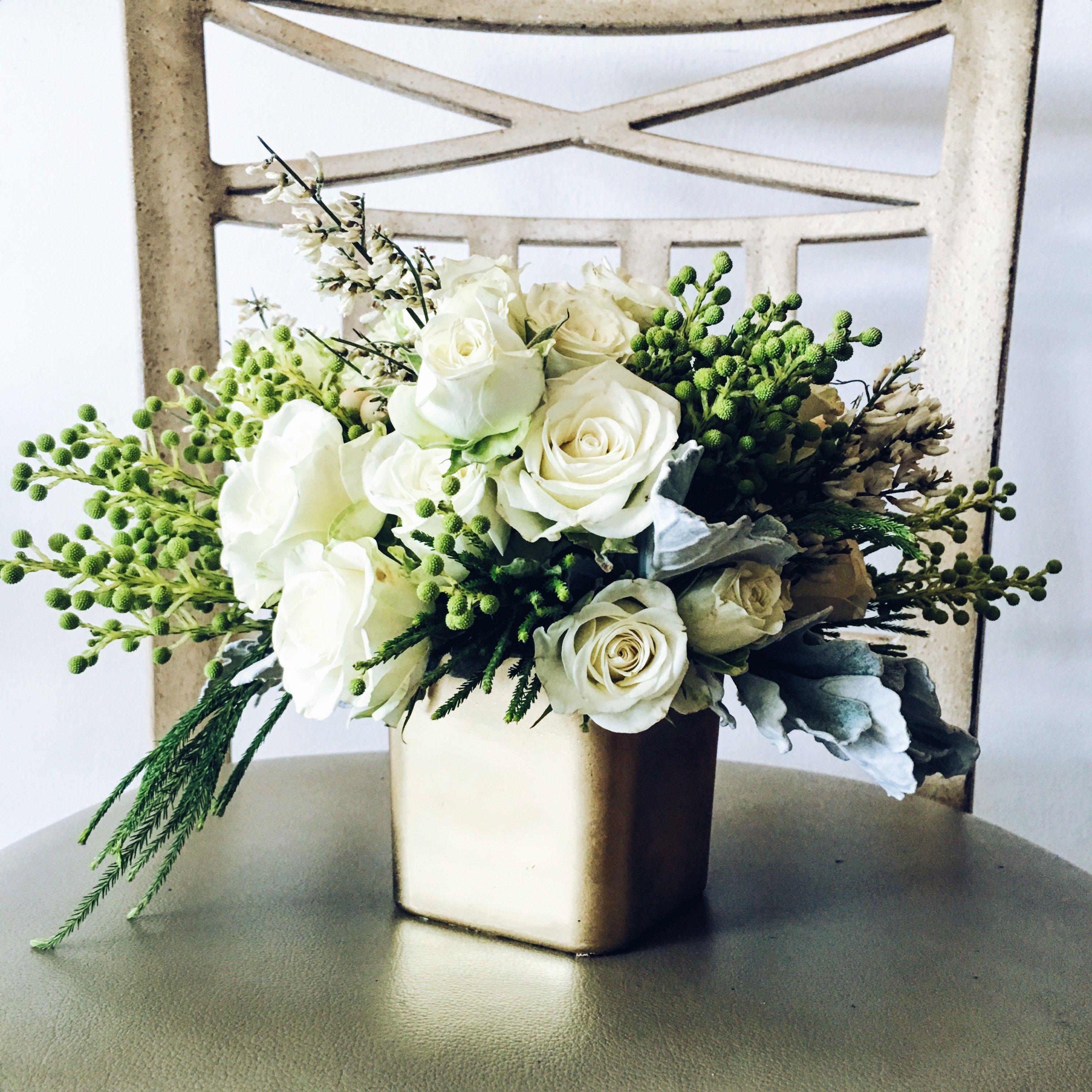 White roses dusty miller greens wedding centerpiece gold vase white roses dusty miller greens wedding centerpiece gold vase laflorist los izmirmasajfo