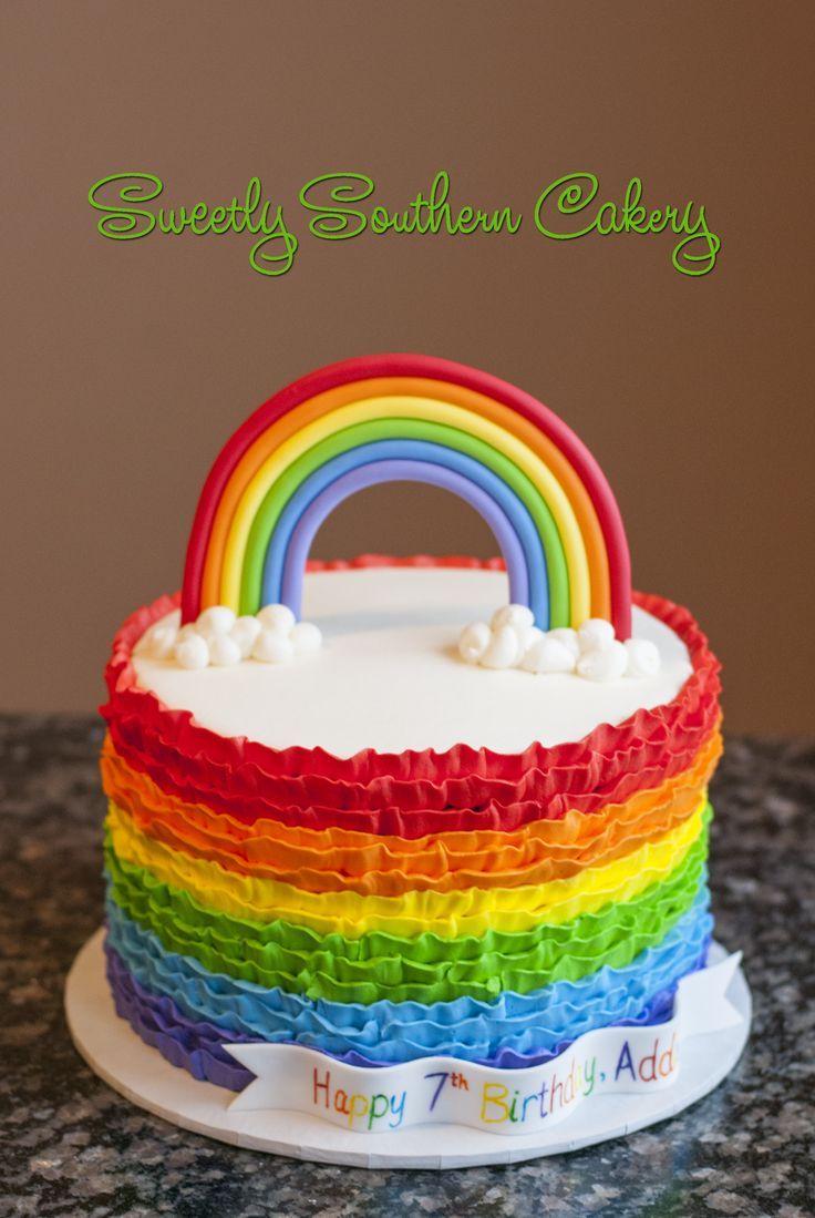 Rainbow Cake Buttercream Ruffles Diy Rainbow Party Ideas In 2019