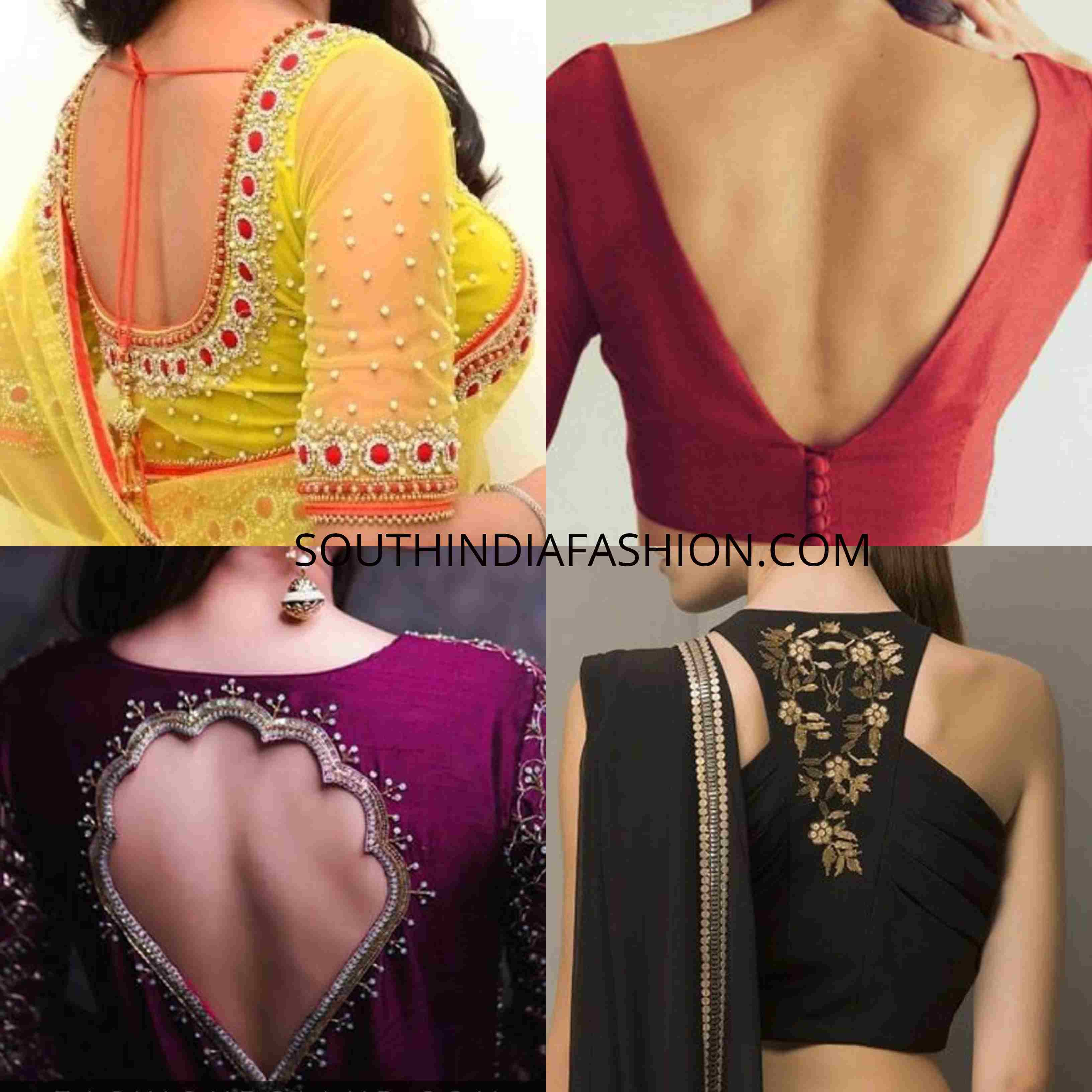 Saree Blouse Designs 2019 Blouse Back Side And Front Neck Patterns Trendy Blouse Designs Saree Blouse Designs Simple Saree Blouse Designs