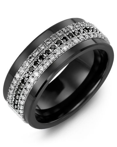 Men S Women S Black Ceramic White Gold 63 Diamonds W B W Tcw 0 63 Wedding Band Black Diamond Wedding Rings Cool Wedding Rings Black Diamond Wedding Bands