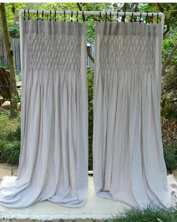 Linen Curtain   Drapery   Hand Smocked   Linen   Panel Set   One Pair
